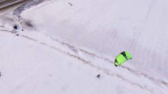 Snowkiting on Highway Stock Footage