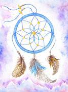 Watercolor Dream Catcher Boho Style - stock illustration