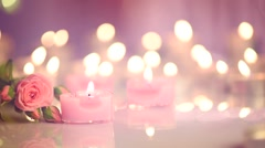 Romantic Valentine's Day Candles and flowers. Stock Footage