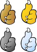 Vector Cartoon illustration of a set of four Animal Paw giving Thumb Up - stock illustration