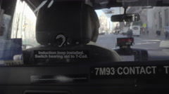 Panning inside taxi cab of front seat rearview mirror driver windshield NYC 4K Stock Footage