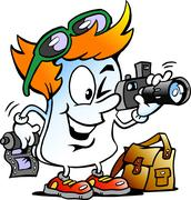 Vector Cartoon illustration of a Happy Editor Paper Photographer Mascot - stock illustration