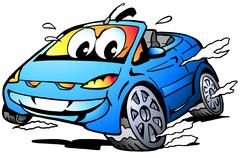 Vector Cartoon illustration of a blue Sports Car Mascot racing in full speed Piirros
