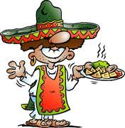 Vector Cartoon illustration of a Happy Mexican standing with some Tarco Food - stock illustration