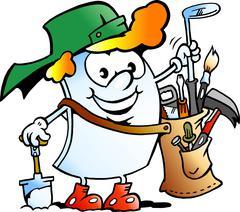 Vector Cartoon illustration of a Happy Golfer Paper Mascot - stock illustration
