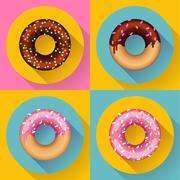 Icon Set Cute sweet colorful chocolate donuts. Flat designed style. - stock illustration
