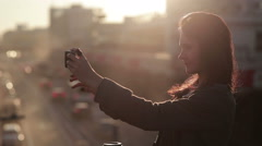 Beautiful Girl Taking Selfie Stock Footage