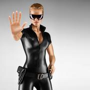 Sexy female security guard. - stock photo
