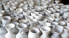 Many white clay vases Stock Footage