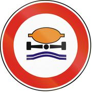Road sign used in Slovakia - No vehicles carrying goods dangerous to water re - stock illustration