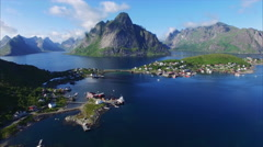 Reine on Lofoten islands in Norway from air Stock Footage