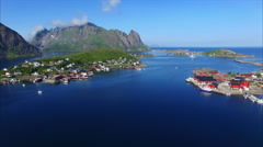 Panning aerial view of Reine on Lofoten islands in Norway Stock Footage