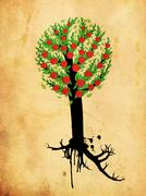 Grunge apple tree Stock Illustration