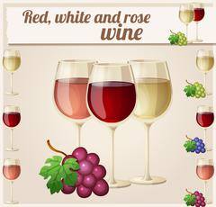 Red, white and rose wine in glasses. Detailed Vector Icon - stock illustration