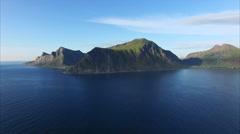 Flying by scenic coastline on Lofoten islands Stock Footage