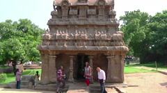 Zoom shot of an ancient building in Mamallapuram, India - stock footage