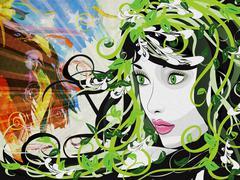 Grunge spring girl illustration Stock Illustration