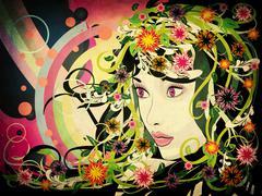 Grunge summer girl with flowers Stock Illustration