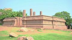Pan WS of an ancient building Mamallapuram, India - stock footage