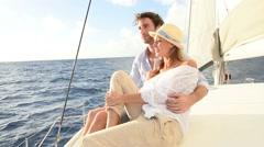 Romantic couple enjoying sail cruise on Caribbean sea Stock Footage