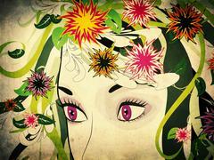 Grunge summer girl Stock Illustration