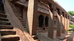 Tilt MCUS of an ancient complex in Mamallapuram, India Stock Footage