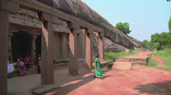 Tilt WS of an ancient complex in Mamallapuram, India Stock Footage