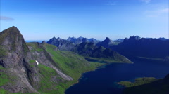 Aerial footage of Lofoten islands in Norway Stock Footage
