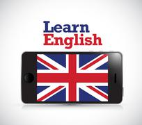 learn english smart phone electronic - stock illustration