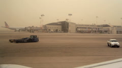 Severe air pollution sand storm, Ben Gurion Airport, Tel-Aviv, Israel Stock Footage