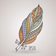 Vector ornate intricate feather. Doodle. Zentangle - stock illustration
