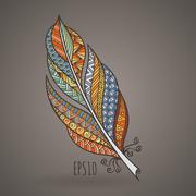 Vector ornate intricate feather. Doodle. Zentangle Stock Illustration