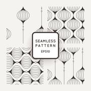 Set of vector seamless pattern of wavy lines, similar elements or tulip glass - stock illustration