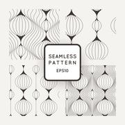 Set of vector seamless pattern of wavy lines, similar elements or tulip glass Stock Illustration