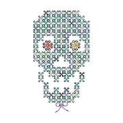 Vector illustration with the image of color knit, woven, embroidered skull. M - stock illustration