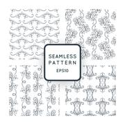 Set of vector seamless pattern with floral motifs, twisted vines. Vintage. Ba - stock illustration