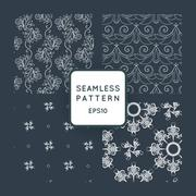 Set of vector seamless pattern with floral motifs, twisted vines. Vintage. Ba Stock Illustration