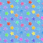 Stock Illustration of Vector Marine seamless pattern with colorful starfish. Pattern for children.