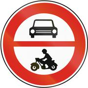 Road sign used in Slovakia - No motor vehicles - stock illustration