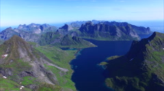 Breathtaking flyover above Lofoten islands in Norway - stock footage
