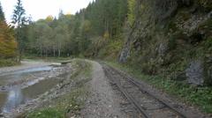 Mocanita railroad near rocks, trees and Vaser valley Stock Footage