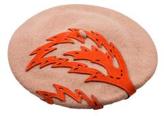 Felt beret with decorative ornament isolated Stock Photos
