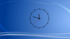 Blue background with abstract wind and clock - stock footage