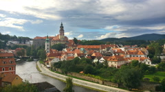 Cesky Krumlov. Clouds over the city. Time lapse Stock Footage