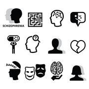 Schizophrenia, mental health, psychology vector icons set Stock Illustration
