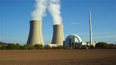 Nuclear power plant on the sky background in sunlight in Germany - stock footage