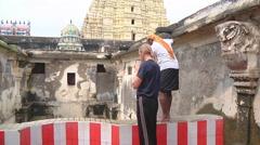 Mid shot of a ritual in Rameswaram, India Stock Footage