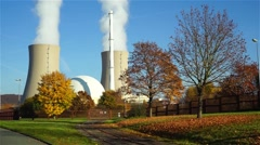 Nuclear power plant on the sky background in sunlight in Germany Stock Footage