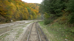 Beautiful view of the Mocanita's railroad along the valley during autumn Stock Footage