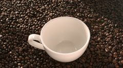 Sugar and Instant Coffee Are Pouring Into a White Cup in Slow Motion Mixed Stock Footage